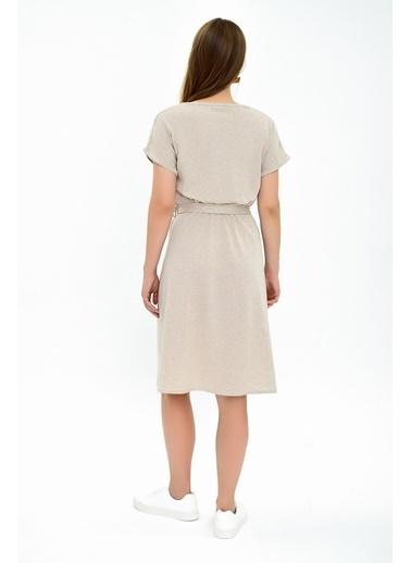 Cottonmood 9292931 Ikiiplik Beli Lastikli Yarasa Kol Elbise Gri Melanj Bej